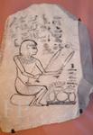 Irynéfer devant un plateau de pains, -1300. Le Louvre