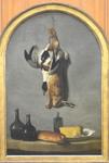 Oudry, NM au lièvre, canard, pain, fromage, 1742, Le Louvre
