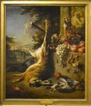 Weenix Jan, Gibier mort, singe et fruits devant un paysage, 1709, Petit Palais, Paris.